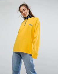 Charms Long Sleeve T Shirt With Logo And Half Zip Yellow