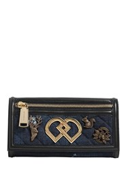 Dsquared Dd Denim And Leather Clutch W Charms