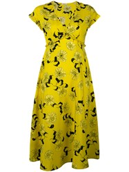 P.A.R.O.S.H. Floral Print Dress Yellow Orange