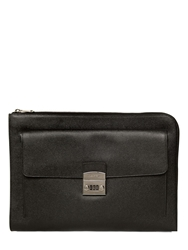 Dolce And Gabbana Dauphine Leather Document Holder Black