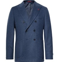 Isaia Navy Slim Fit Unstructured Double Breasted Wool And Cashmere Blend Blazer