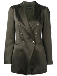Emporio Armani Double Breasted Blazer Women Silk Polyester 42 Green