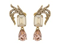 Oscar De La Renta Pave Leaf And Crystal C Earrings Cry Gold Shadow