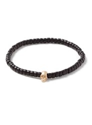 Topman Skull Beaded Stretch Bracelet Black