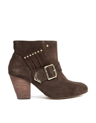 Ravel Mario Leather Buckle Detail Heeled Boots Brown
