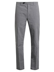 Helbers Pinstriped Washed Cotton Chino Trousers Grey