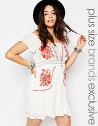 Alice And You Off The Shoulder Embroidered Folk Dress White