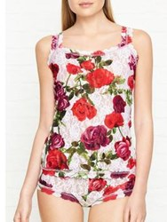 Hanky Panky Rose Print Lace Camisole White Red White Red