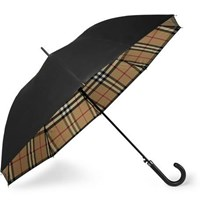 Burberry Regent Leather Handle Checked Umbrella Black