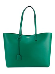 Saint Laurent Leather Shopping Tote Green