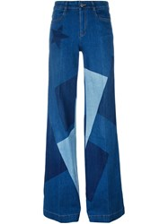 Stella Mccartney Wide Leg Patchwork Jeans Blue