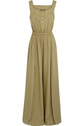 Balmain Crepe Jumpsuit Army Green