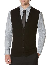 Perry Ellis Solid Sweater Vest Black