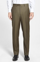 Men's Big And Tall Santorelli Flat Front Wool Trousers Olive