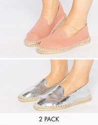 Asos Jeanie Wide Fit Two Pack Espadrilles Nude Silver Multi