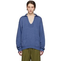 Maison Martin Margiela Blue Cashmere V Neck Sweater