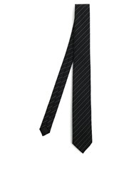 Saint Laurent Striped Jacquard Silk Tie Black