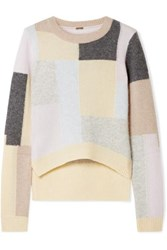 Adam By Adam Lippes Color Block Brushed Cashmere And Silk Blend Sweater Beige