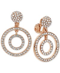 Anne Klein Multiple Circle Pave Clip On Earrings Rose Gold