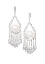 Adriana Orsini 10 11Mm Freshwater Pearl Fringe Earrings Silver