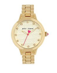 Betsey Johnson Flower And Sparkle Bracelet Watch Gold