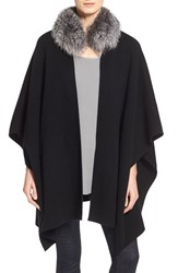 Women's Sofia Cashmere Genuine Fox Fur Collar Cashmere Cape