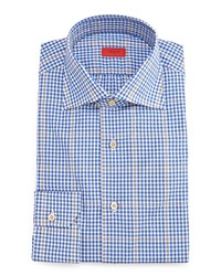 Isaia Gingham Windowpane Dress Shirt Blue