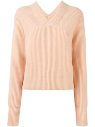 Chloe V Neck Jumper Pink And Purple