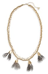 Serefina Dancing Feathers Statement Necklace Spots Gold