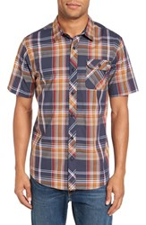 O'neill Men's 'Emporium' Trim Fit Plaid Short Sleeve Woven Shirt Navy