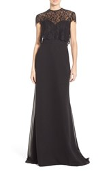 Women's Hayley Paige Occasions Strapless Chiffon A Line Gown With Removable Lace Overlay Black