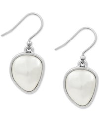 Lucky Brand Silver Tone Imitation Peal Drop Earrings