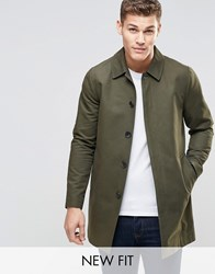 Asos Single Breasted Trench Coat With Shower Resistance In Khaki Khaki Green