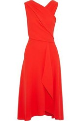 Iris And Ink Wrap Effect Crepe Midi Dress Tomato Red