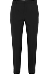 Lanvin Satin Trimmed Cropped Canvas Slim Leg Pants Black