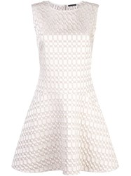 Josie Natori Jacquard Fit And Flare Dress White