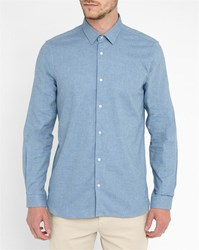 M.Studio Blue Romain Classic Collar Slim Fit Shirt