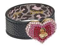Betsey Johnson Pave Heart Leather Bracelet Red Bracelet