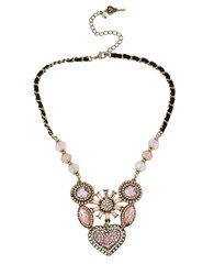 Betsey Johnson Crystallized Vintage Heart Six Piece Necklace Rose Quartz Gold