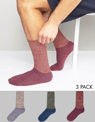 Asos Cable Boot Socks With Long Rib 3 Pack Multi