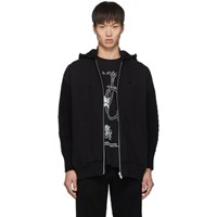 Undercover Black Wool And Down Multi Fabric Hoodie