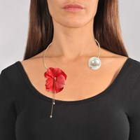 Anton Heunis Coral Red Flower And Pearl Necklace