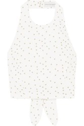 Rebecca Vallance Holliday Cropped Polka Dot Linen Blend Halterneck Top Ivory