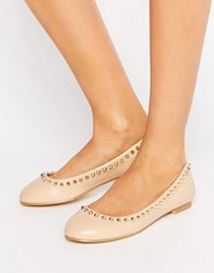London Rebel Stud Trim Ballerina Nude Beige