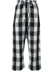 Forme D'expression Gingham Print Cropped Trousers Blue