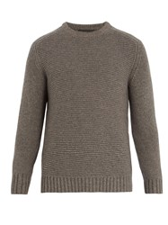 Iris Von Arnim Crew Neck Contrast Knit Sweater Grey