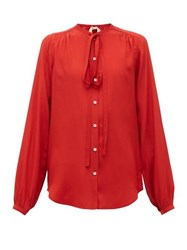 N 21 No. Neck Tie Crepe Blouse Red