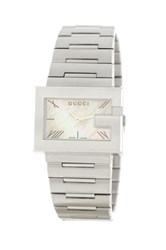 Gucci Women's G Rectangle White Watch Metallic