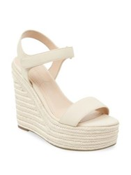 Kendall Kylie Leather Wedge Espadrilles Natural