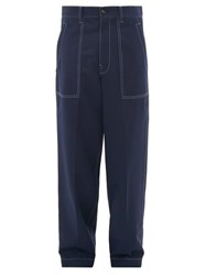 Marni Relaxed Fit Wool Gabardine Trousers Navy